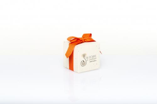 Immagine Cubo piantabile con fiocco arancione