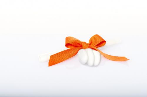 Immagine Pergamena fiocco arancione e confetti