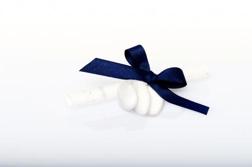 Immagine Pergamena fiocco blu e confetti